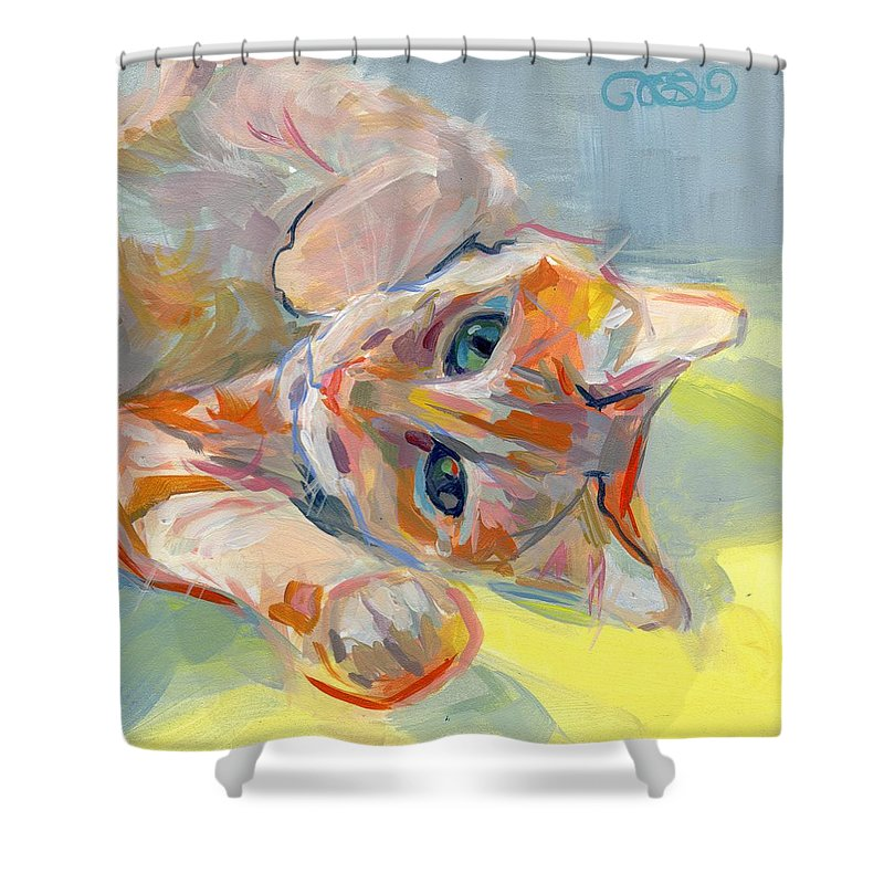 Tabby Cat Shower Curtain Featuring The Painting Hello Kitty By Kimberly Santini
