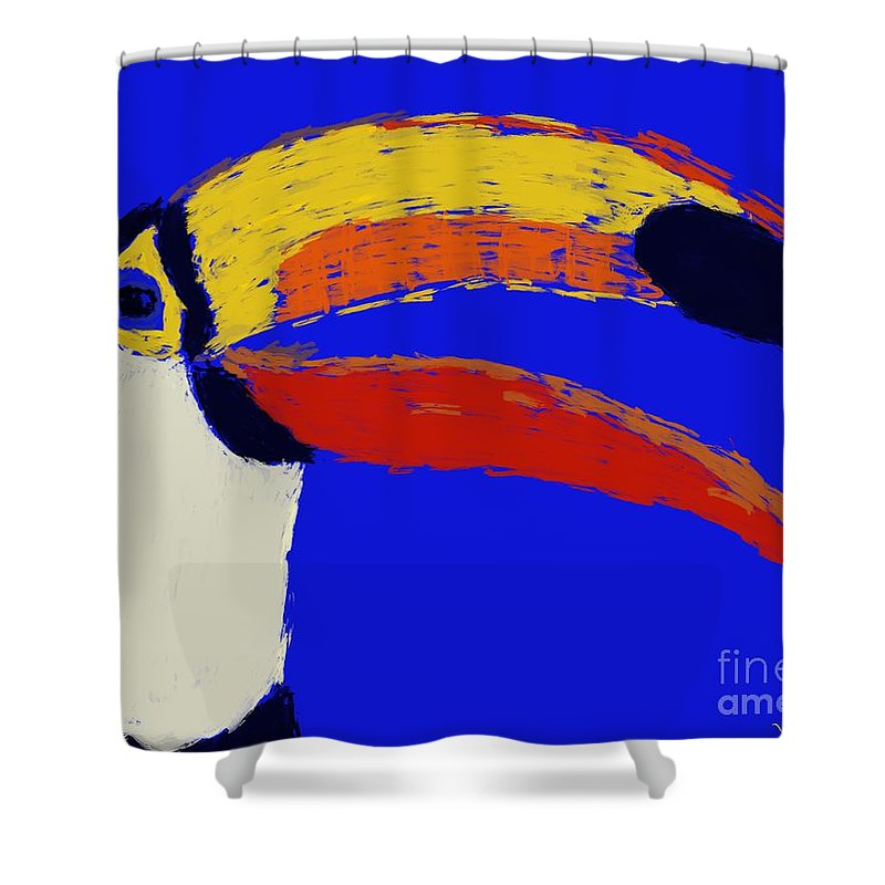 Shower Curtain featuring the painting Hello Toucan by Jack Bunds