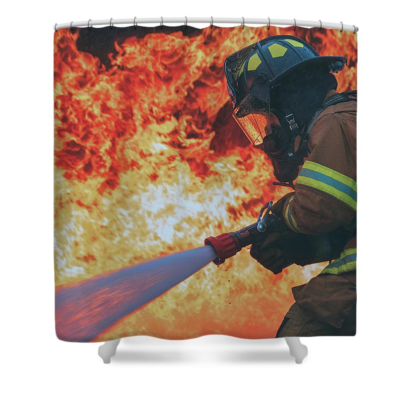 Usaf Shower Curtain featuring the photograph Hell's Acre by U S A F