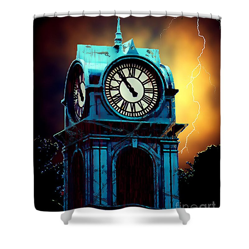 Blood Shower Curtain featuring the painting Hells Timeclock by RC DeWinter