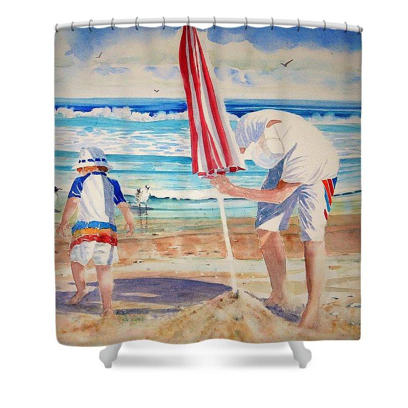 Beach Shower Curtain featuring the painting Helping Dad Set Up The Camp by Tom Harris