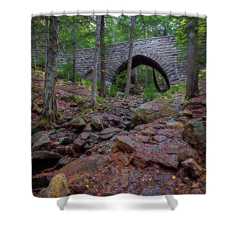 Acadia Shower Curtain featuring the photograph Hemlock Bridge by Gary Lengyel
