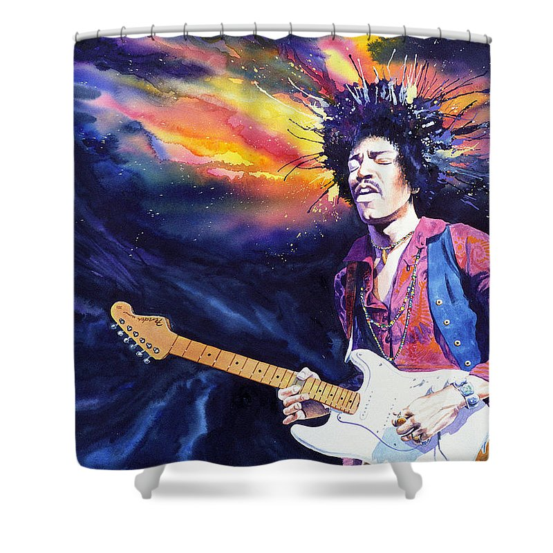 Jimi Hendrix Shower Curtain featuring the painting Hendrix by Ken Meyer jr