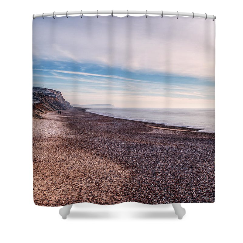 Hengistbury Head Shower Curtain featuring the photograph Hengistbury Head And Beach by Chris Day