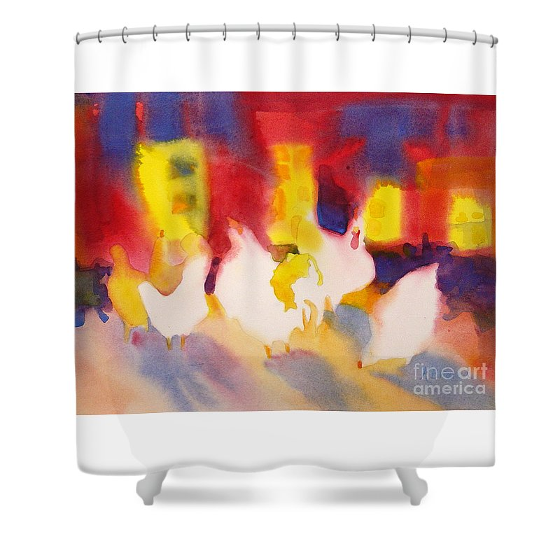Paintings Shower Curtain featuring the painting Henhouse Serenade by Kathy Braud