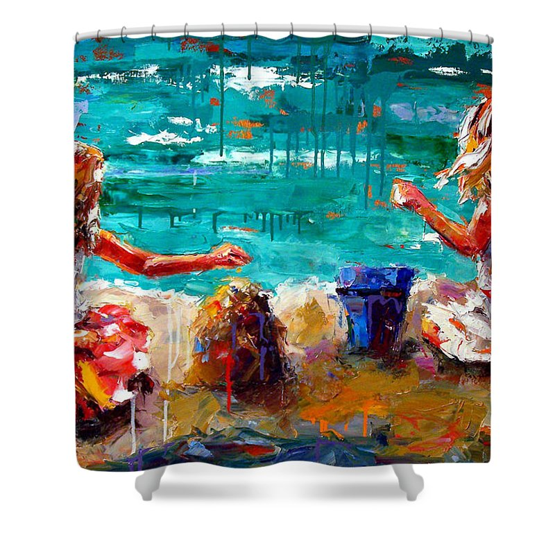 Seascape Shower Curtain featuring the painting Her Blue Bucket by Debra Hurd