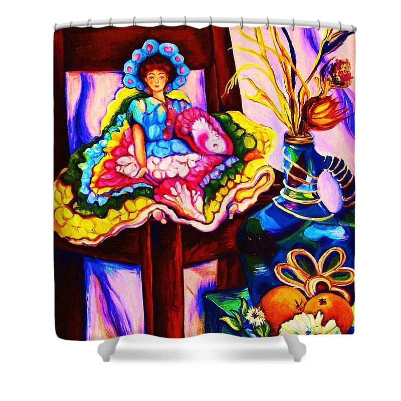 Collectables.antique Dolls Shower Curtain featuring the painting Her Little Parasol by Carole Spandau