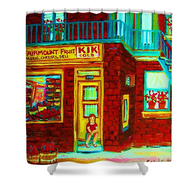 Fmontreal Shower Curtain featuring the painting Her Shopping List by Carole Spandau