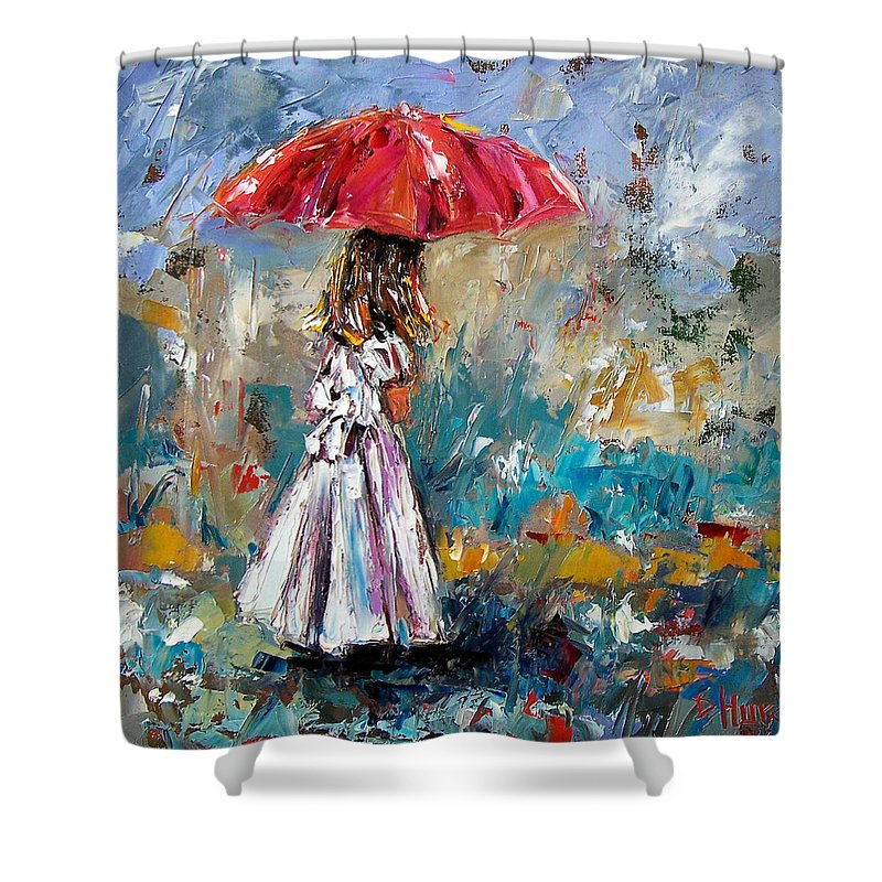Children Art Shower Curtain featuring the painting Her White Dress by Debra Hurd