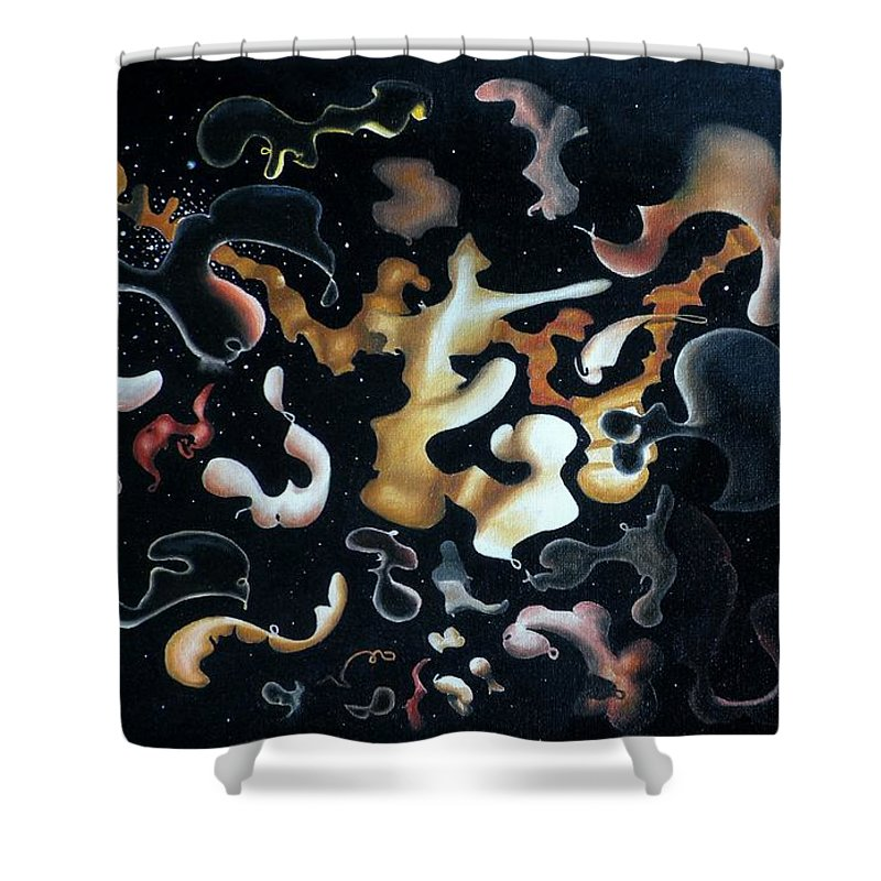 Abstract Shower Curtain featuring the painting Herculean Construction by Dave Martsolf