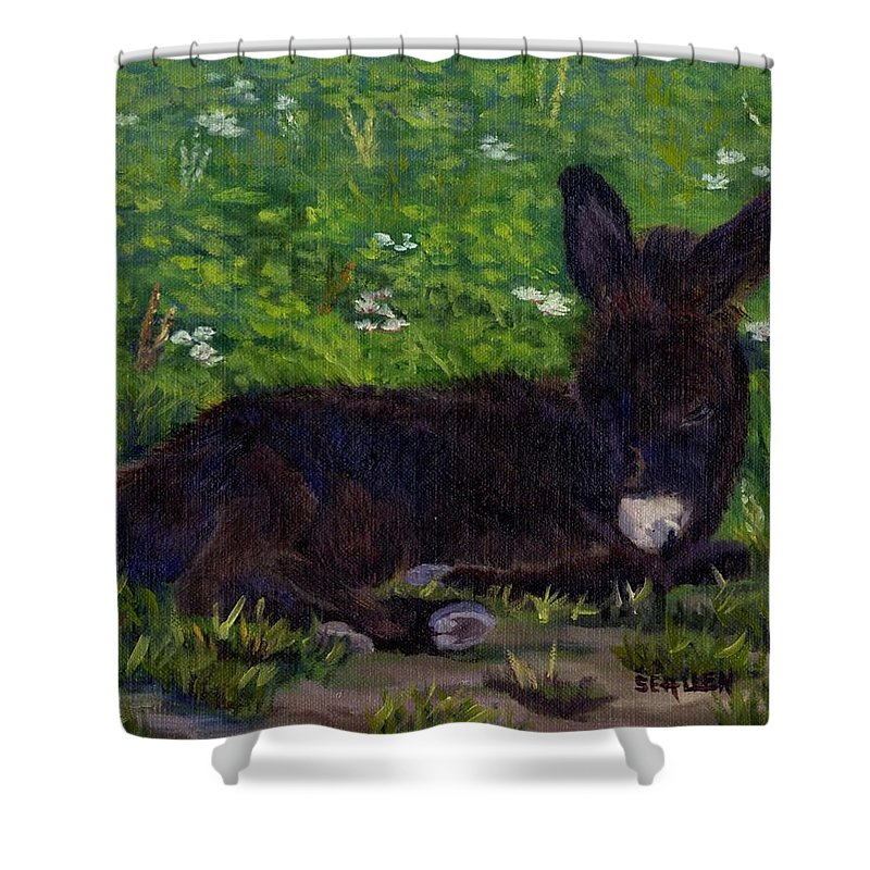 Donkey Shower Curtain featuring the painting Hercules by Sharon E Allen