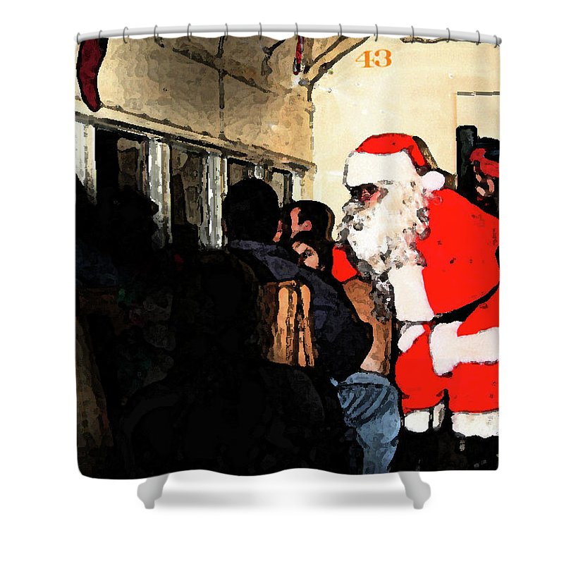 Santa Claus Shower Curtain featuring the photograph Here Come Santa by Kim Henderson