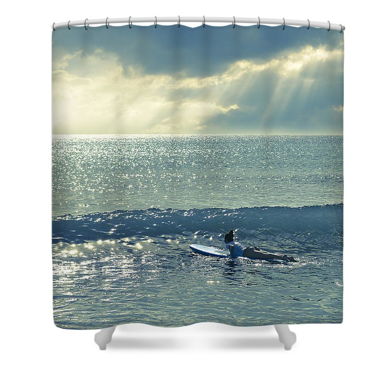 Surfer Girl Shower Curtain featuring the photograph Here Comes The Sun by Laura Fasulo