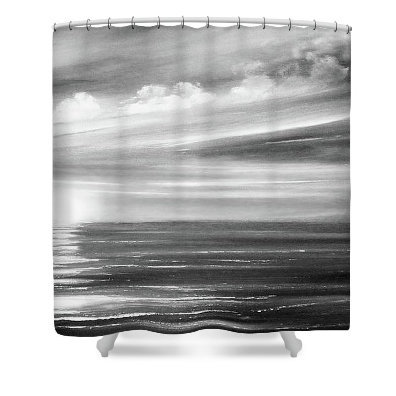 Sunset Shower Curtain featuring the painting Here It Goes In Black And White by Gina De Gorna