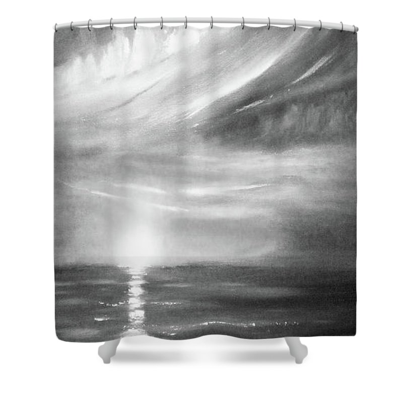 Sunset Shower Curtain featuring the painting Here It Goes -vertical Sunset In Black And White by Gina De Gorna