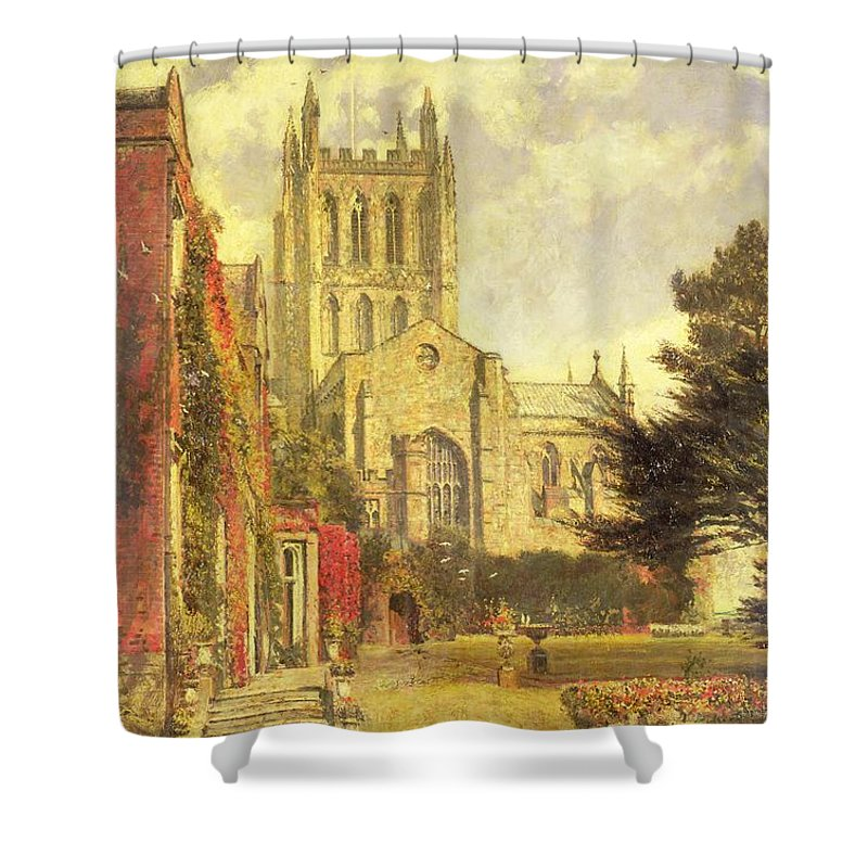 Hereford Shower Curtain featuring the painting Hereford Cathedral by John William Buxton Knight