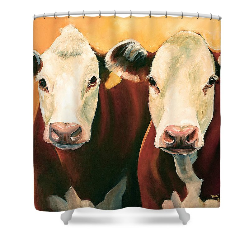 Cows Shower Curtain featuring the painting Herefords by Toni Grote