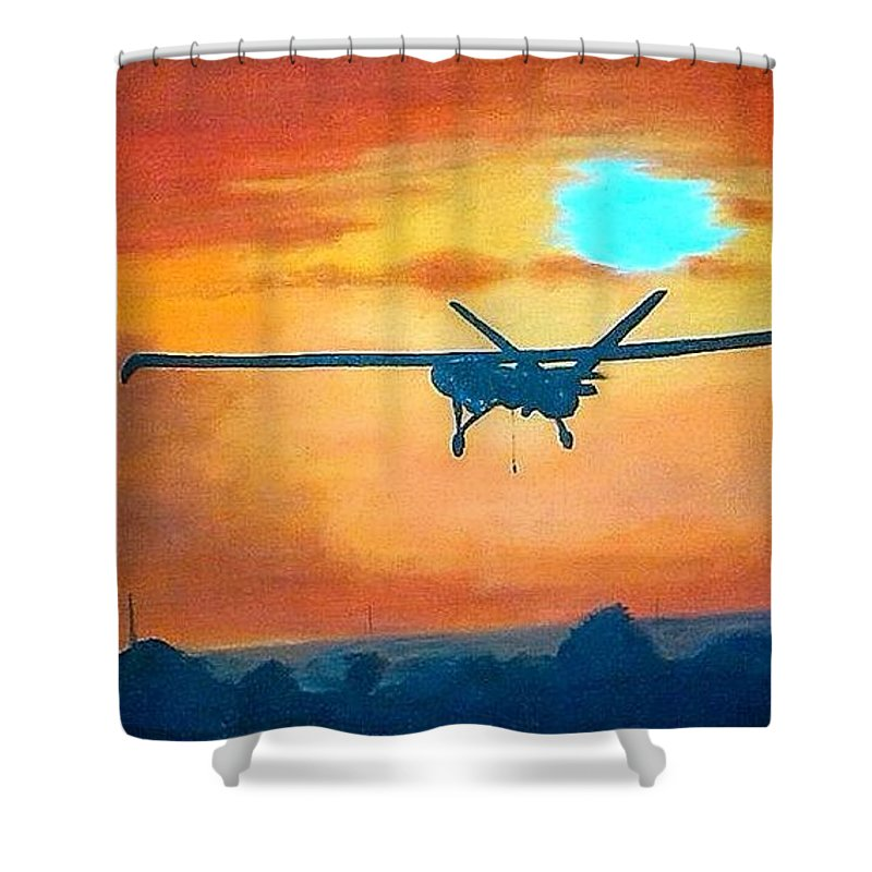 British Army_uav_drones_47 Field Regiment_royal Artillery_ Hermes_hermes 450 Shower Curtain featuring the painting Hermes U A V 450 British Army by Richard John Holden RA