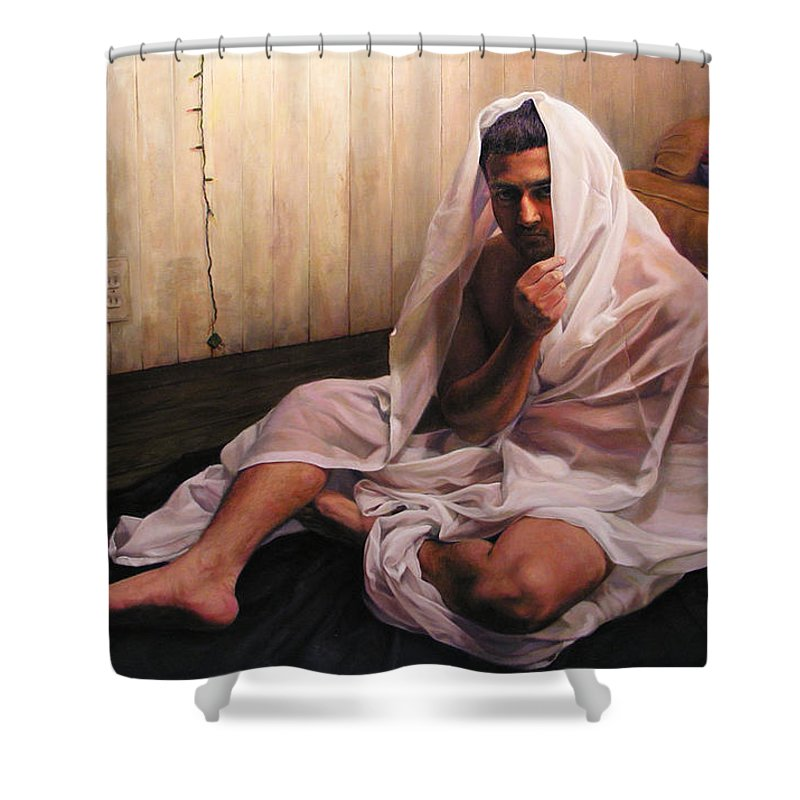 Hermit Shower Curtain featuring the painting Hermit by Joe Velez