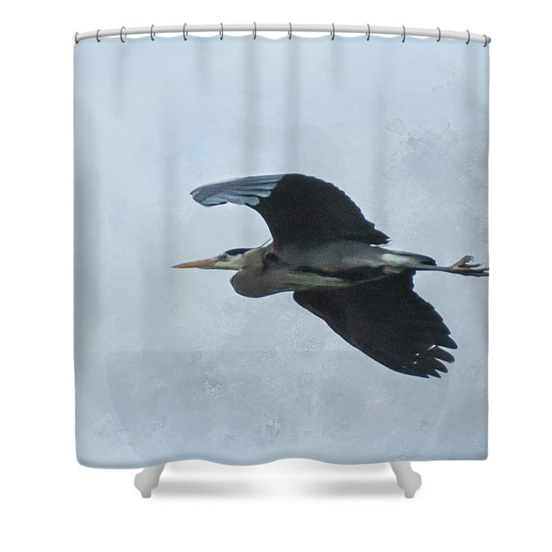 Heron Shower Curtain featuring the photograph Heron In Flight by Marilyn Wilson