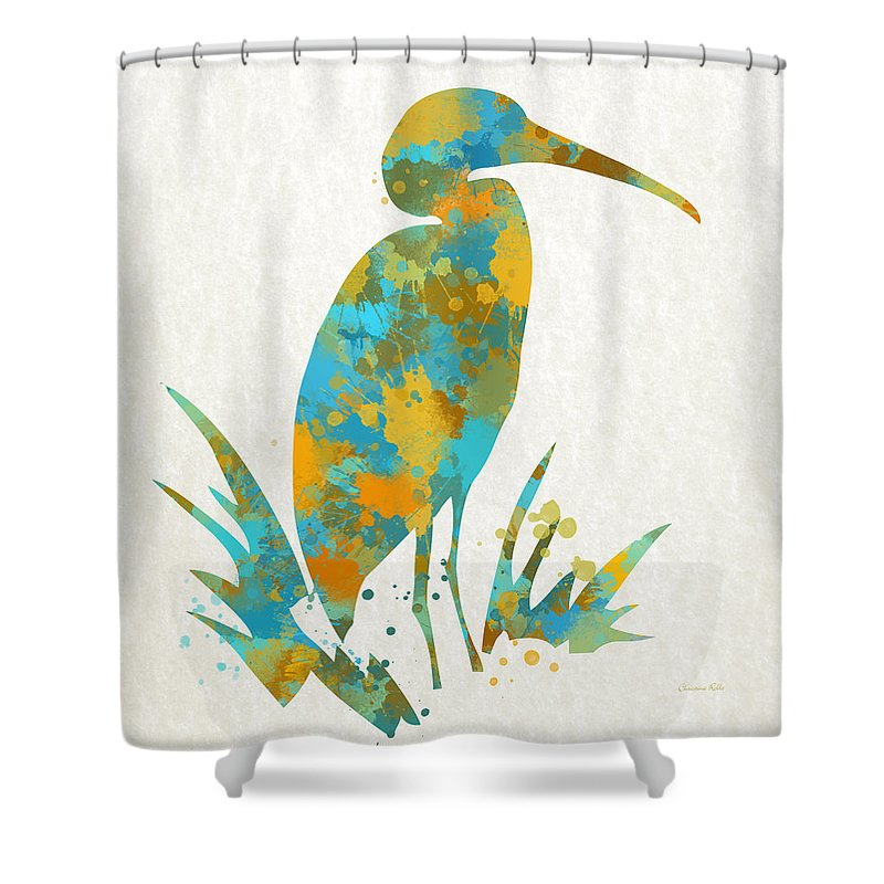 Heron Shower Curtain featuring the mixed media Heron Watercolor Art by Christina Rollo