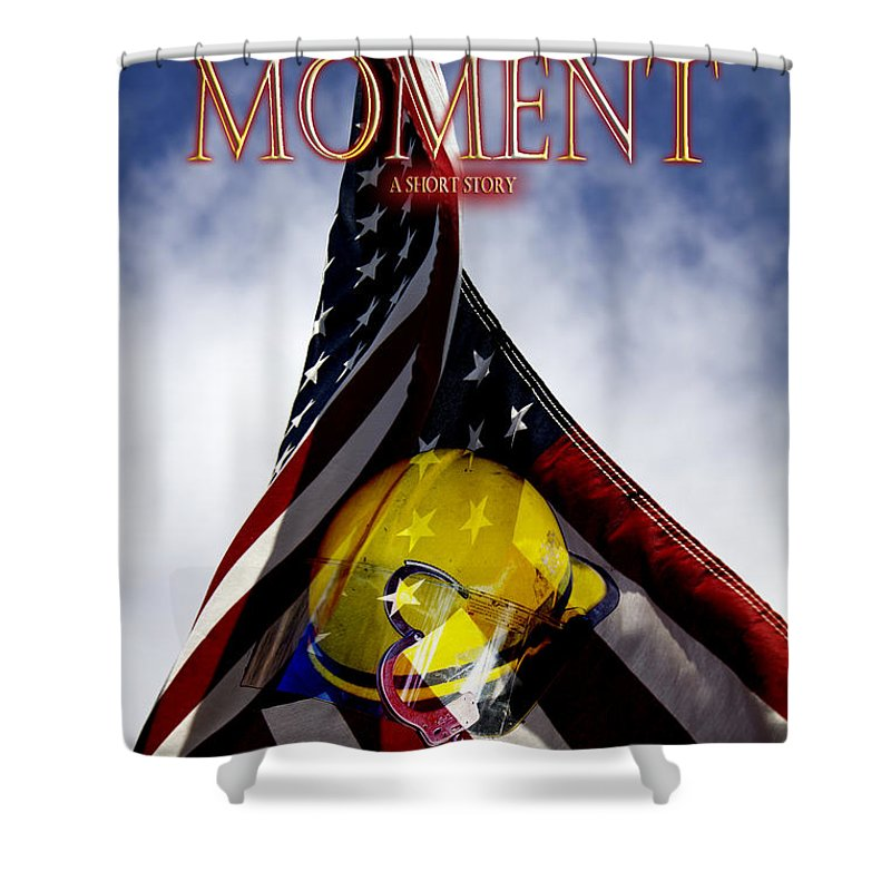 Firefighter Shower Curtain featuring the digital art Hero's Moment by Alycia Christine