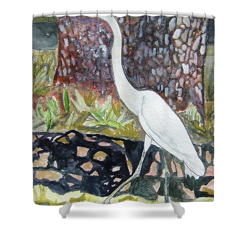 Bird Shower Curtain featuring the painting Herron by Derek Mccrea