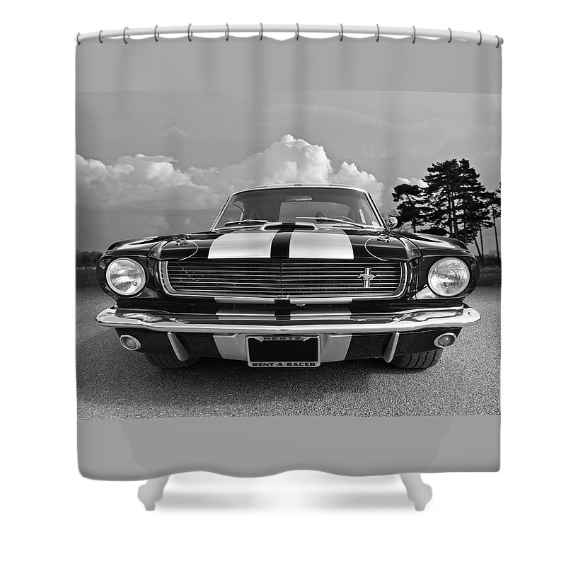 Ford Mustang Shower Curtain Featuring The Photograph Hertz Rent A Racer 1966 Black And White