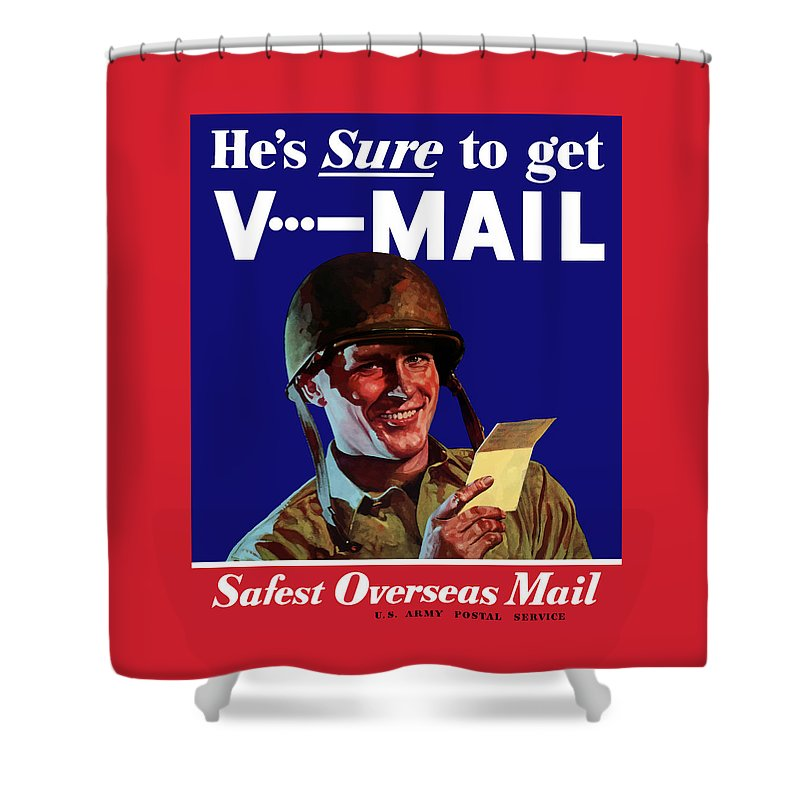 World War Ii Shower Curtain featuring the painting He's Sure To Get V-mail by War Is Hell Store