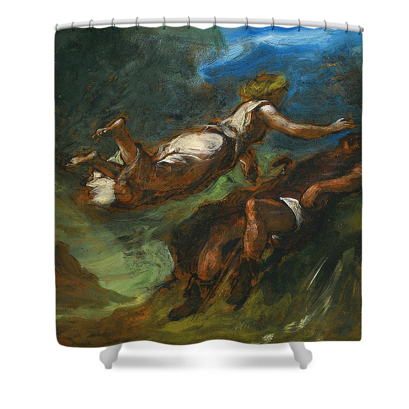 Eugene Delacroix Shower Curtain featuring the painting Hesiod And The Muse by Eugene Delacroix