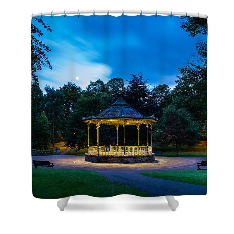 Northumberland Shower Curtain featuring the photograph Hexham Bandstand At Night by David Head