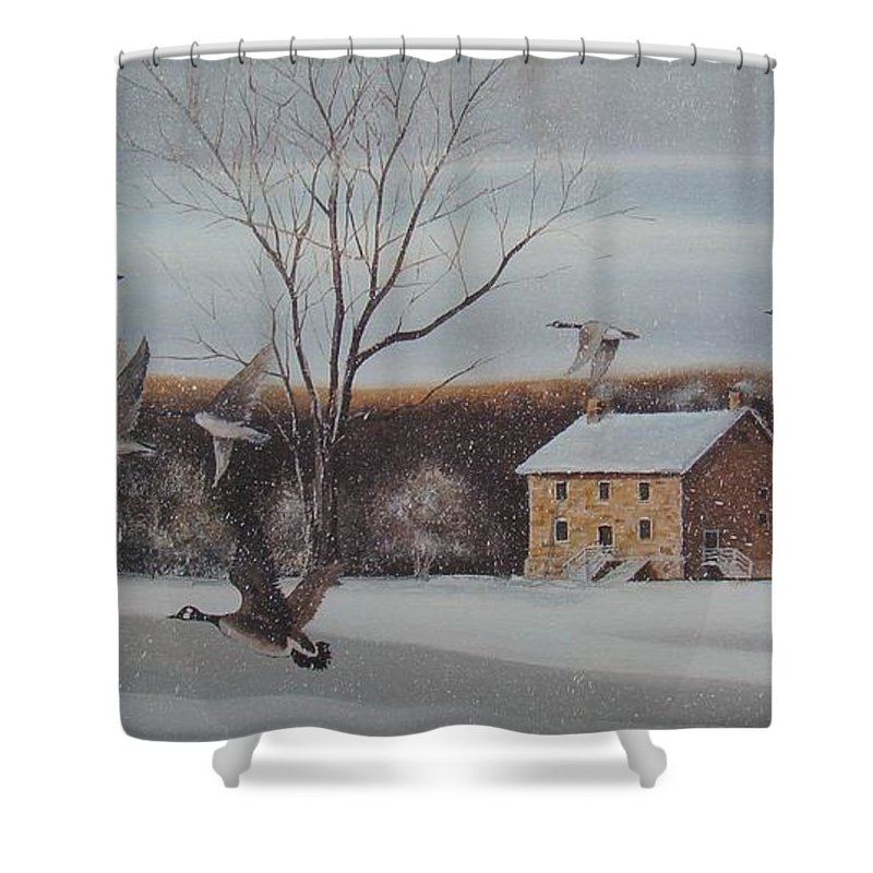 Charles Roy Smith Shower Curtain featuring the painting Hezakiah Alexander House by Charles Roy Smith