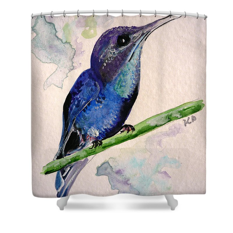 Hummingbird Painting Bird Painting Tropical Caribbean Painting Watercolor Painting Shower Curtain featuring the painting hHUMMINGBIRD 2  by Karin Dawn Kelshall- Best