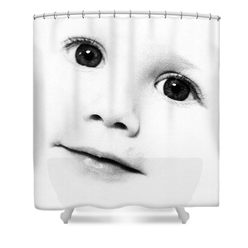 Black And White Shower Curtain featuring the photograph Hi.... by Sergio Bondioni
