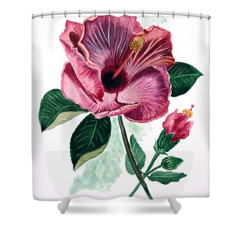 Flora Painting L Hibiscus Painting Pink Flower Painting Greeting Card Painting Shower Curtain featuring the painting Hibiscus Dusky Rose by Karin Dawn Kelshall- Best