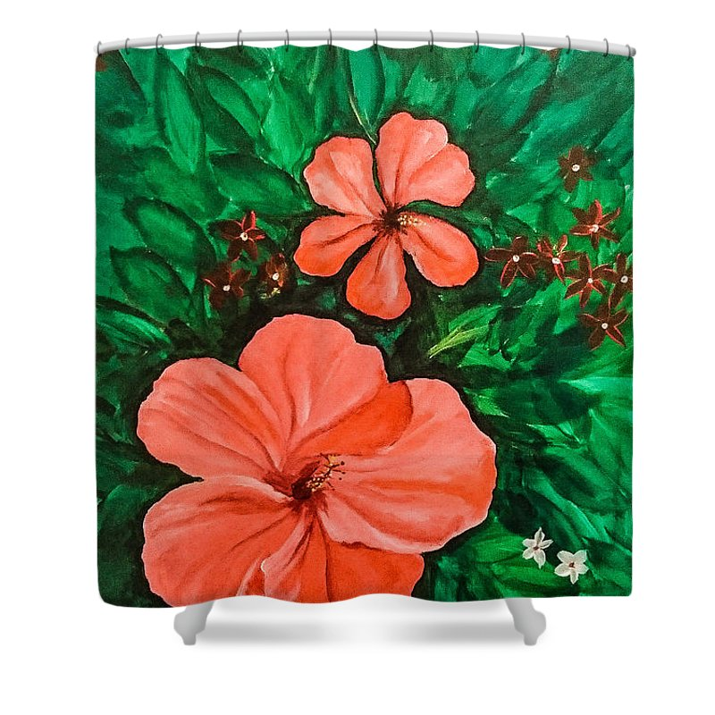 Hibiscus Shower Curtain featuring the painting Hibiscus by Faashie Sha