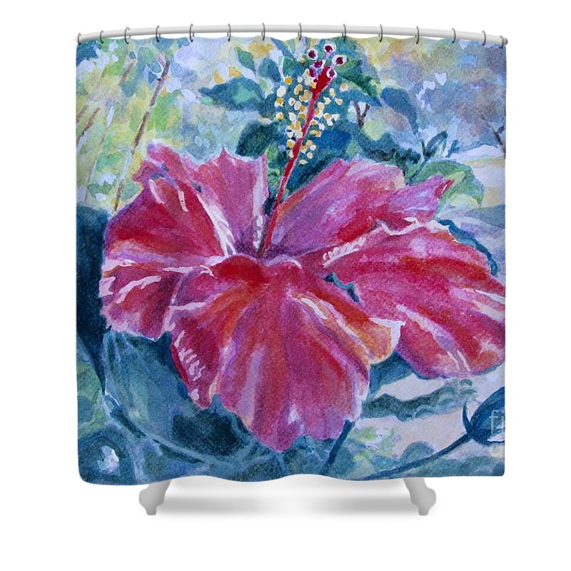 Flowers Shower Curtain featuring the painting Hibiscus by Jan Bennicoff
