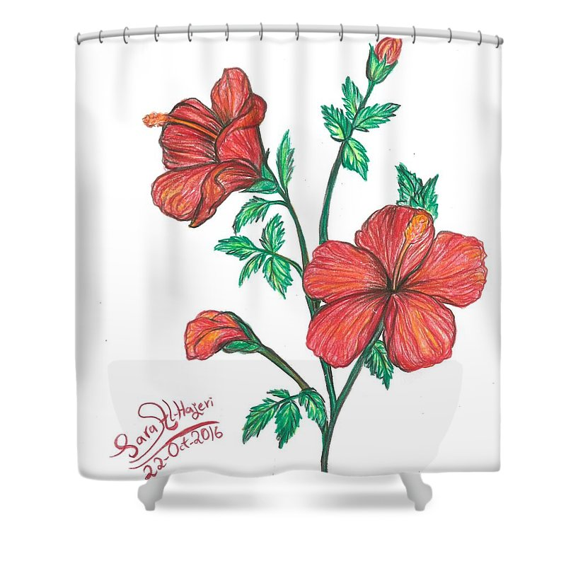 Shower Curtain featuring the drawing Hibiscus by Sara Alhajeri