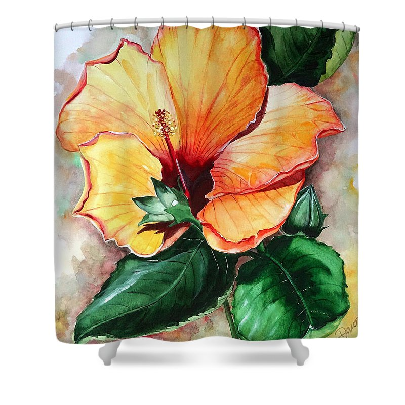 Flower Paintings Bloom Paintings Caribbean Paintings Floral Paintings Tropical Paintings Yellow Hibiscus Paintings Greeting Card Paintings Canvas Print Paintings Poster Art Paintings Shower Curtain featuring the painting Hibiscus Sunny by Karin Dawn Kelshall- Best