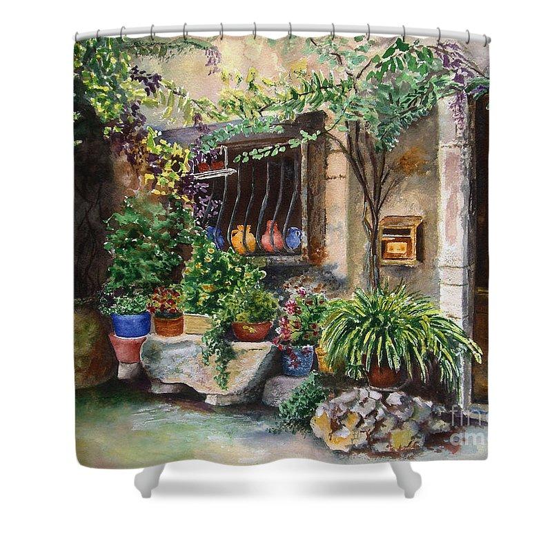 Courtyard Shower Curtain featuring the painting Hidden Courtyard by Karen Fleschler