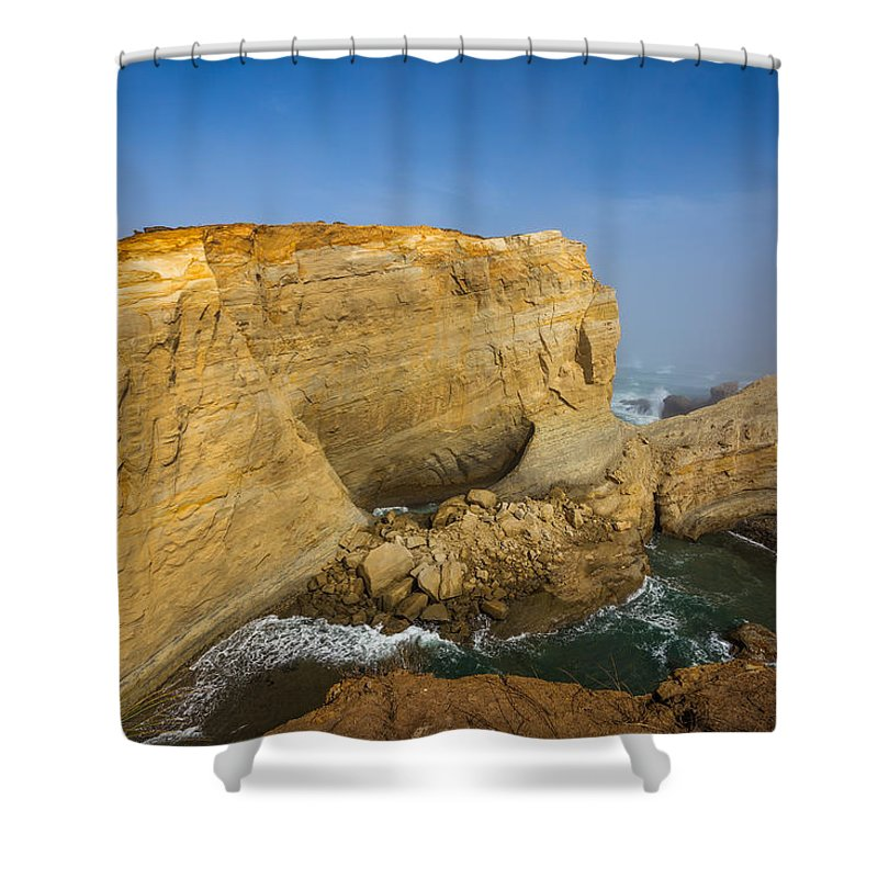 Cliff Shower Curtain featuring the photograph Hidden Cove by Calazone's Flics