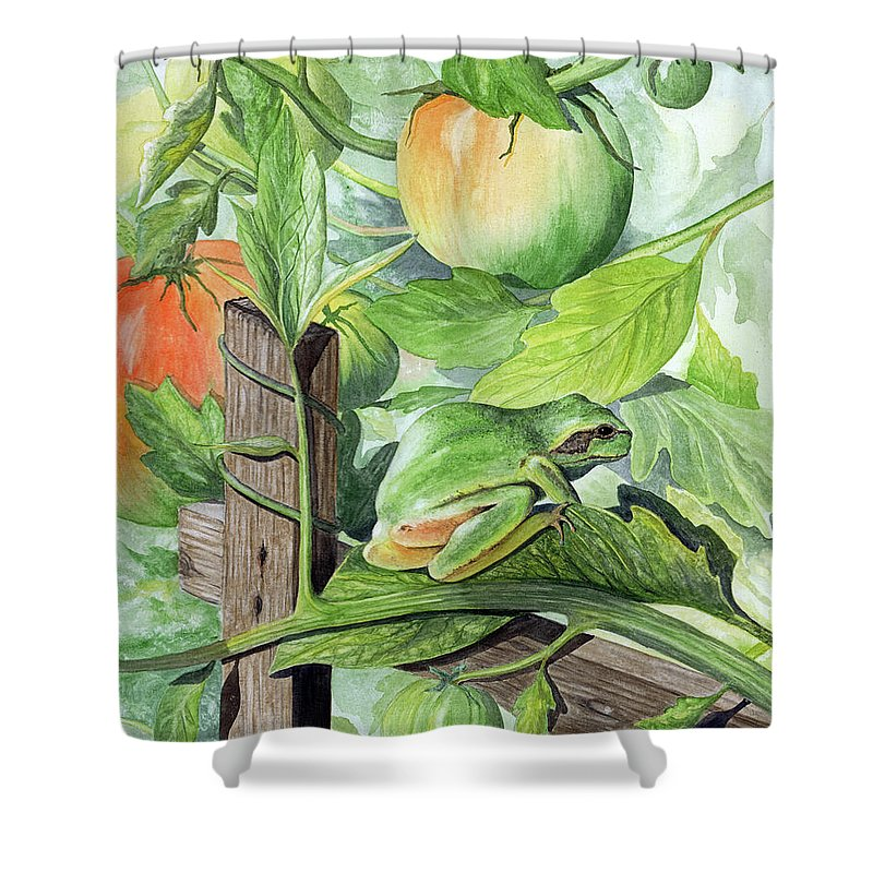 Frog Shower Curtain featuring the painting Hidden II by Mary Tuomi