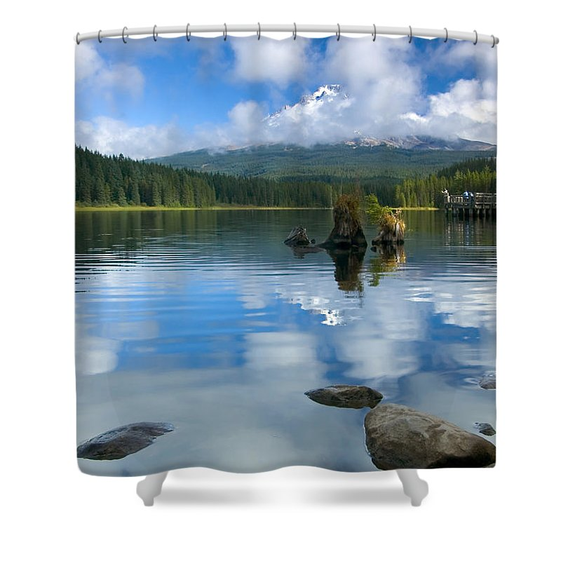 Mt. Hood Shower Curtain featuring the photograph Hidden In Fleece by Mike Dawson