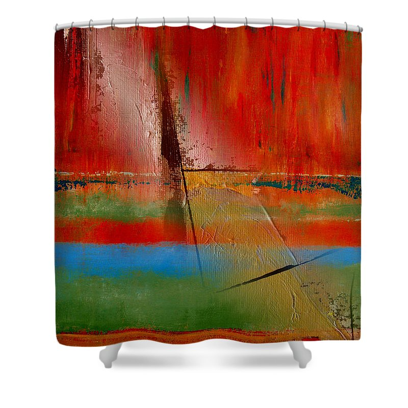 Abstract Shower Curtain featuring the painting Hidden Inside The Lines by Ruth Palmer