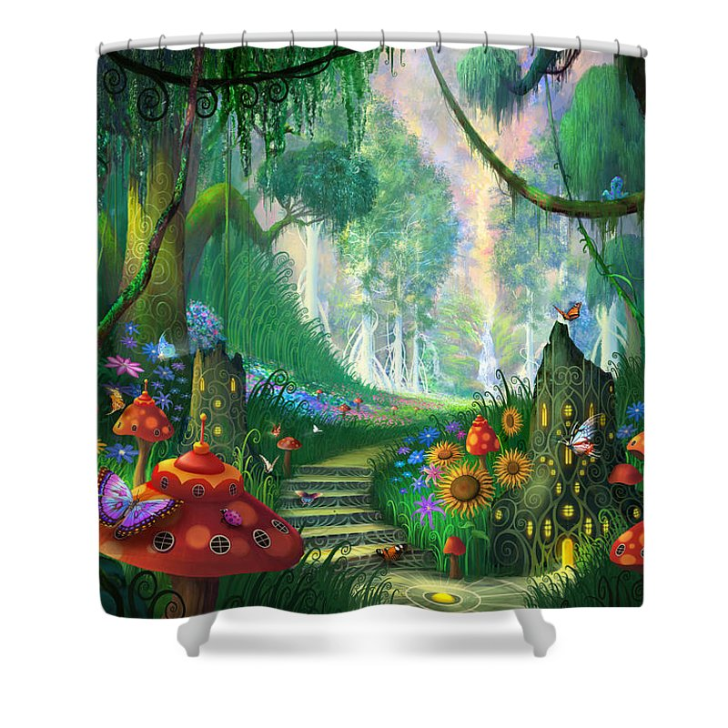 Hidden Treasure Shower Curtain featuring the painting Hidden Treasure by Philip Straub