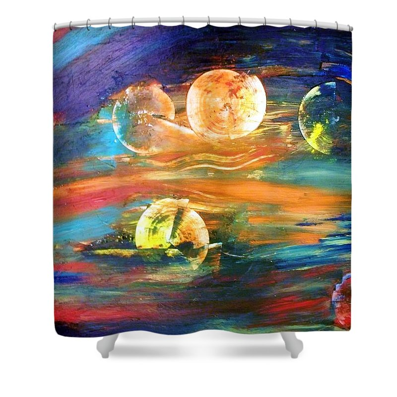 Abstract Shower Curtain featuring the painting Hidden Worlds by Robin Monroe