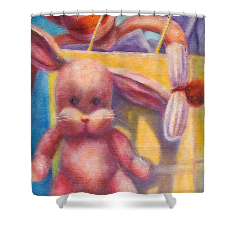 Children Shower Curtain featuring the painting Hide And Seek by Shannon Grissom