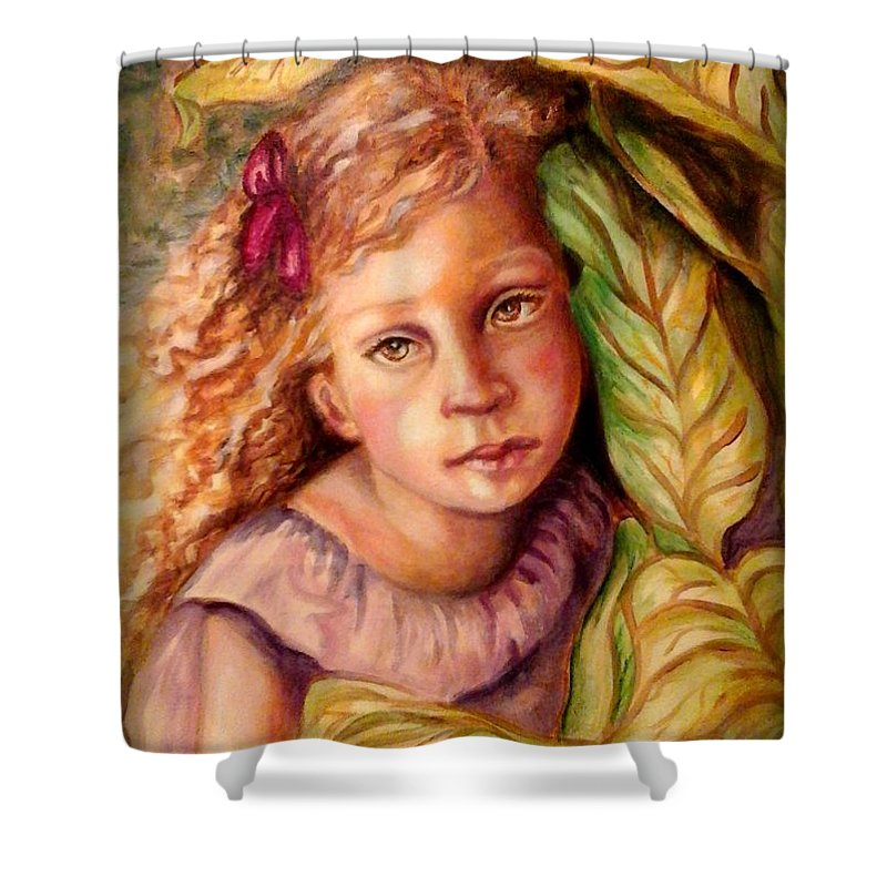 Little Girl Shower Curtain featuring the painting Hiding by Em Scott