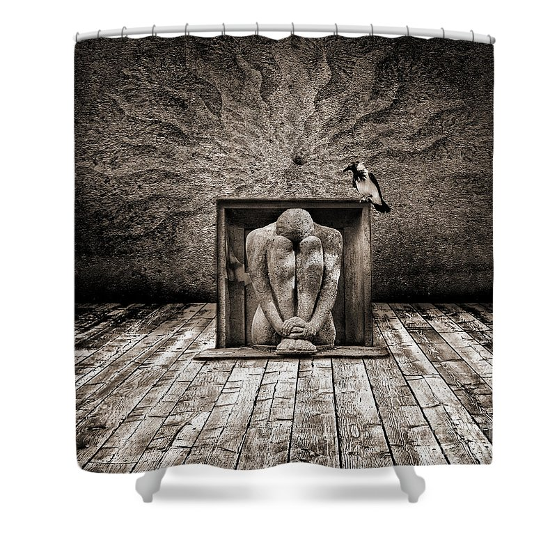 Dark Shower Curtain featuring the digital art Hiding by Jacky Gerritsen