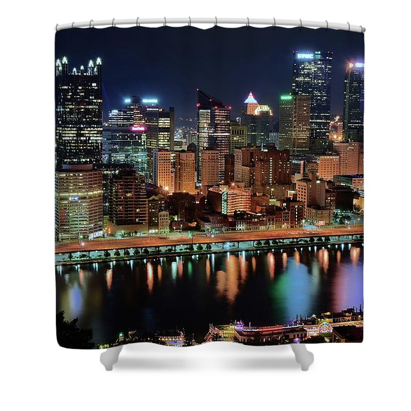 Pittsburgh Shower Curtain featuring the photograph High Above Pittsburgh by Frozen in Time Fine Art Photography